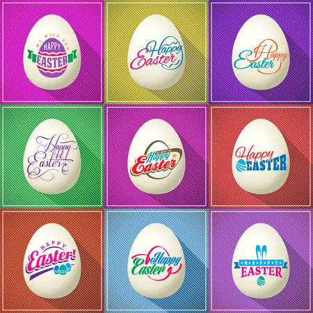 Vector Happy Easter text label seals on the eggs set on flat retro backgrounds 版權商用圖片 - 117970848