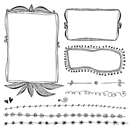 Hand drawn vector border lines and frames doodle sketch set 版權商用圖片 - 117970851
