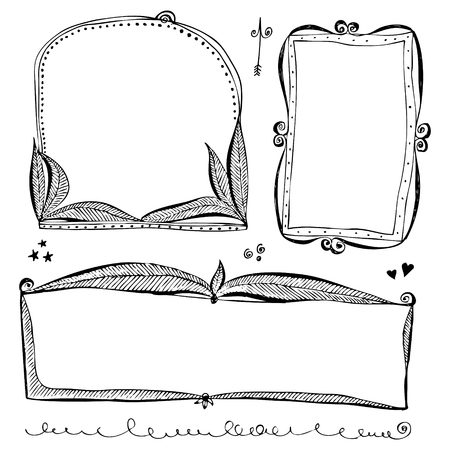 Hand drawn vector border lines and frames doodle sketch set  イラスト・ベクター素材