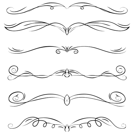 Hand drawn vector ornate swirl doodle vintage calligraphic design elements. Borders, frames, dividers set for wedding greeting and invitation card. 版權商用圖片 - 117970891