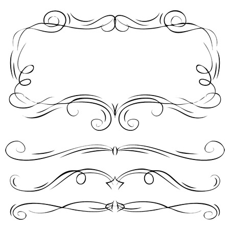Hand drawn vector ornate swirl doodle vintage calligraphic design elements. Borders, frames, dividers set for wedding greeting and invitation card.