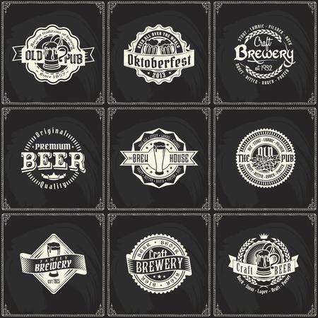 Craft beer brewery logo label set on vintage chalkboard background. Template for bar or pub.  イラスト・ベクター素材
