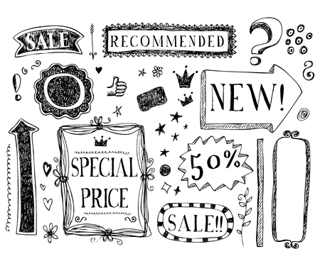 Vector doodle shopping sale offer  hand drawn sketch set