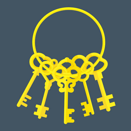 old padlock: 5 golden keys Illustration