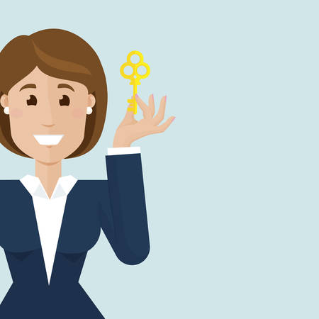 happy business woman: Businesswoman hold a gold key and smilling
