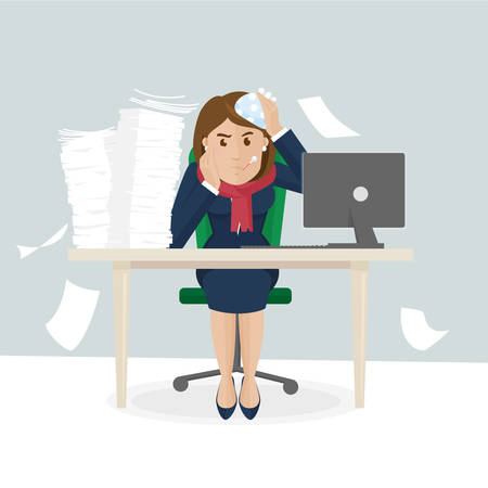laziness: Businesswoman is sick and have lot of work
