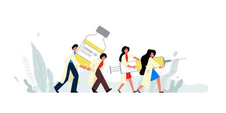 Men and women carry a vial and syringe of the covid-19 vaccine.