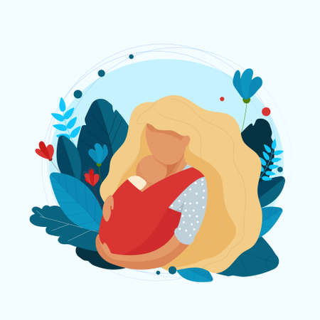 A young mother cuddling a sleeping baby in a sling. Vector Illustratie