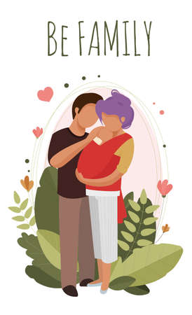 Man and woman hugging a sleeping baby in a sling. Vector Illustratie