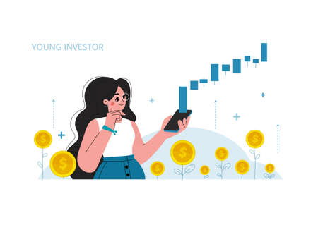Young woman with a mobile phone, stock market investment, growth, rising profit, young generation. Vector illustration.