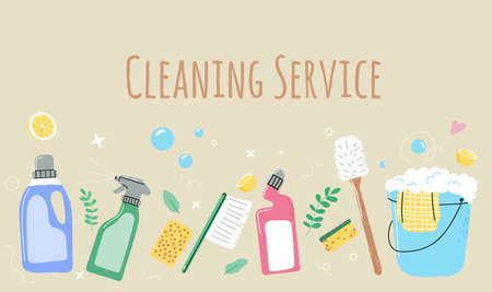 Set of eco household cleaning supplies, detergent bottles and washing tools, sponge,bucket,broom,spray liquid.