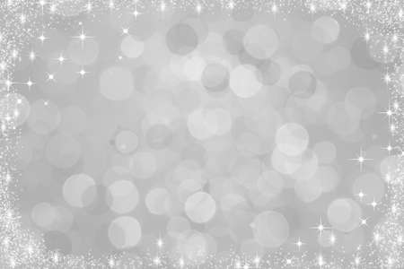 Silver christmas background with snowflakes Stock Photo