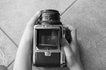 taking pictures with a vintage medium format camera Stock Photo