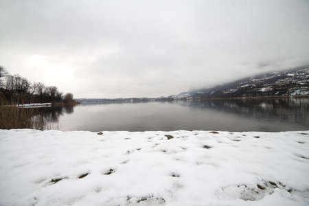 lake under the snow, Lecco Stock Photo - 18555801