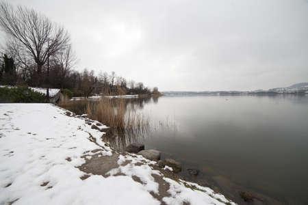 lake under the snow, Lecco Stock Photo - 18555851