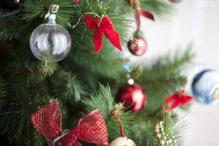 Evening ball on a christmas tree -  sunlight Stock Photo
