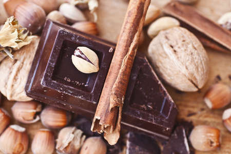 a chocolate and nuts background Stock Photo
