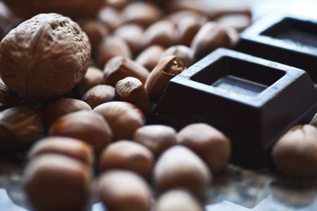 chocolate and nuts - very shall depth of field