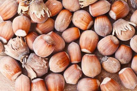 Hazelnuts on wooden table