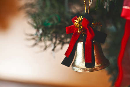 a christmas bell hanging