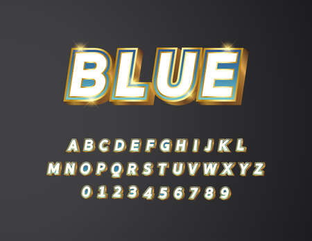 Golden metal with white and blue gradient bold text 3d styled alphabet typeface vector Illustration