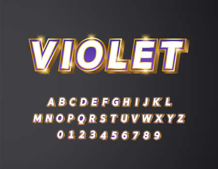 Golden metal with white and purple violet gradient bold text 3d styled alphabet typeface vector Illustration