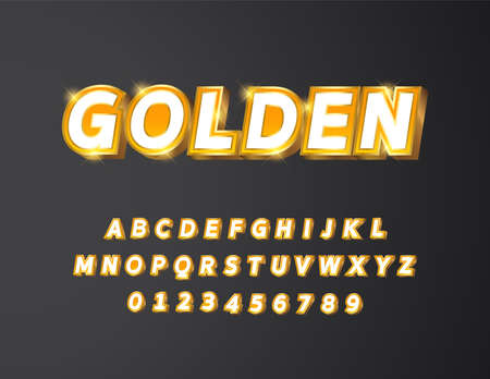 Golden metal with white and yellow gradient bold text 3d styled alphabet typeface vector Illustration