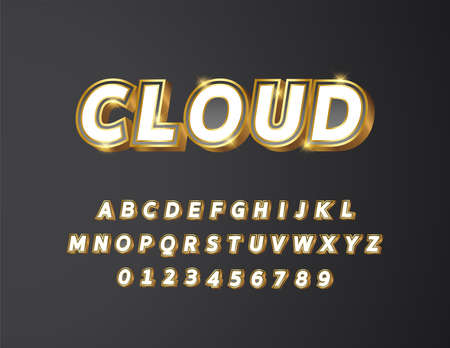 Golden metal with white and black grey gradient bold text 3d styled alphabet typeface vector Illustration