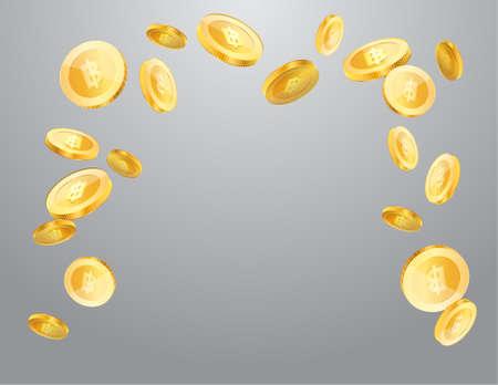 Thai baht currency realistic gold coin floating, money sign vector illustration Ilustração