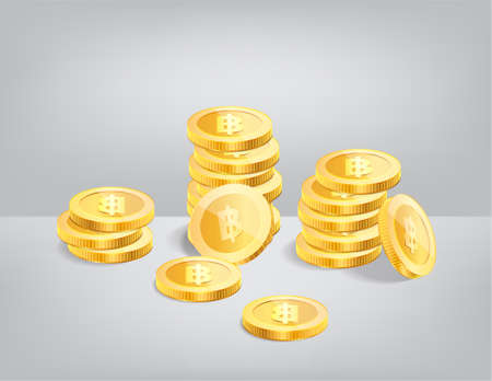 Stack of Thai baht currency realistic gold coin, money sign vector illustration Illusztráció