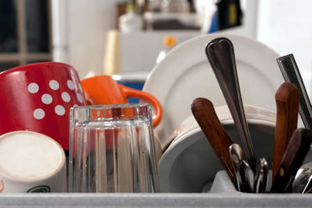 washup: Clean dishes, knives and forks and cups and plates