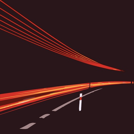 flash drive: acceleration of the motion on the night road - vector Illustration