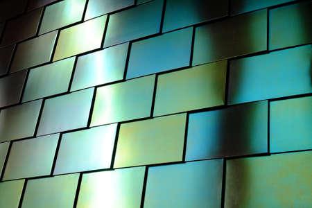 shiny metal: Shiny green metal textured wall Stock Photo