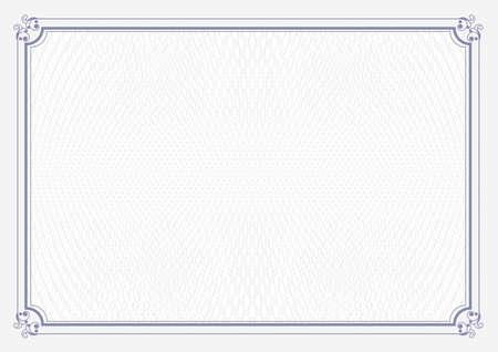 Blue border A4 size certificate grunge retro paper background