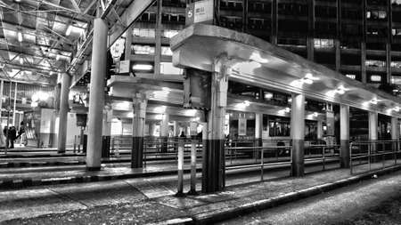 bus station: Bus station - black and white Stock Photo