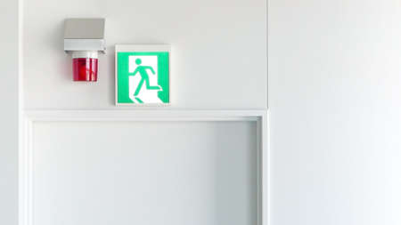 exit sign: Green emergency exit sign and red alarm light Stock Photo