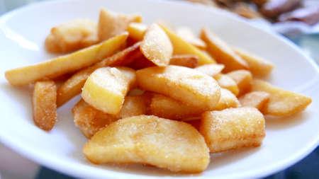 potato fries: Homemade potato fries on the white dish Stock Photo
