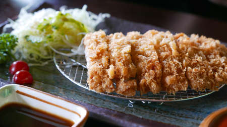 lunch tray: Japanese food Tonkatsu on the plate
