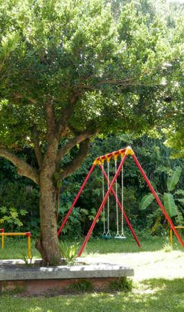 Colourful park swings on the grass 版權商用圖片