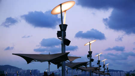 early: street lamp in early evening Stock Photo