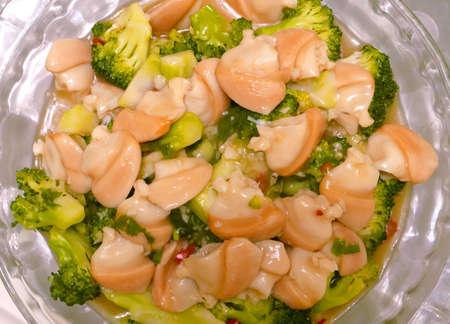 almeja: Comida de los mariscos de almejas y brócoli