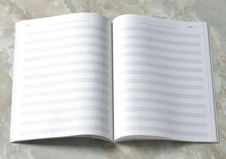 notation: opened empty music notation book on the table Stock Photo