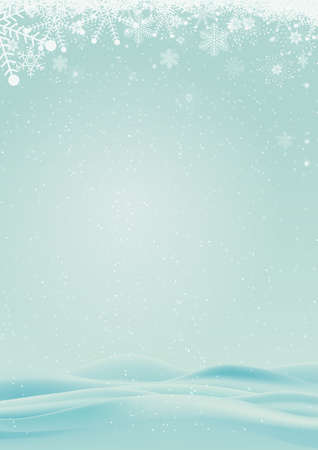 christmas elements: winter background with snow and snowflake border Stock Photo