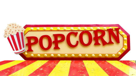 Colorful popcorn sign with lighting border on white background