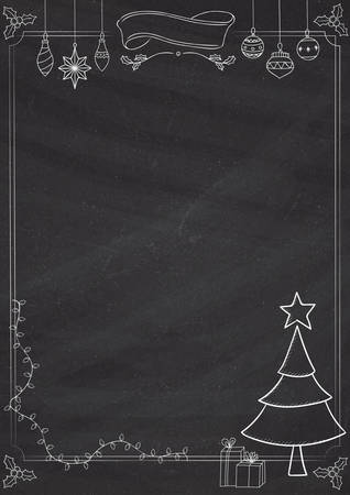 holiday background: A4 size vertical Cafe menu classic blackboard background with Christmas border and decorations Illustration