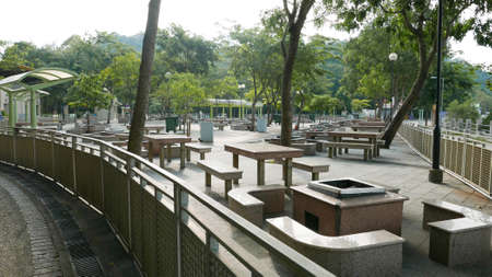 the place is outdoor: Outdoor barbecue place at daytime in hong kong park Stock Photo