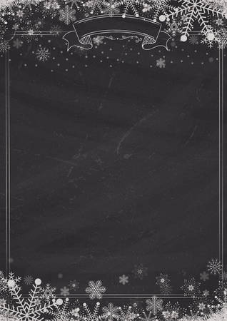 A4 size vertical Cafe menu classic blackboard background with winter snow and snowflake Ilustração