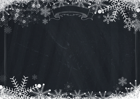 A4 size Cafe menu classic winter blackboard background with border, snowflake and snow illustrations