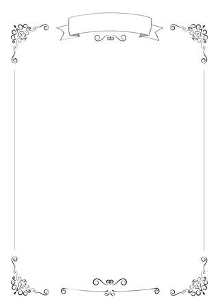 A4 size vertical cafe menu white background with retro ribbon and border Vector Illustration