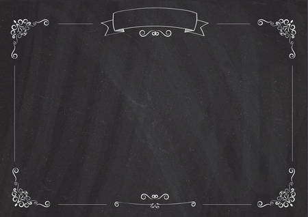 A4 size Cafe menu blackboard background with retro ribbon and border